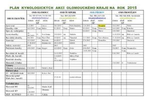 Plan kynologickych akci OLOMOUCKEHO kraje_2015